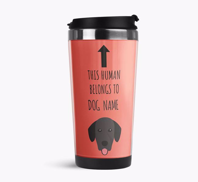 'This Human Belongs to' Travel Flask with Springador Icon
