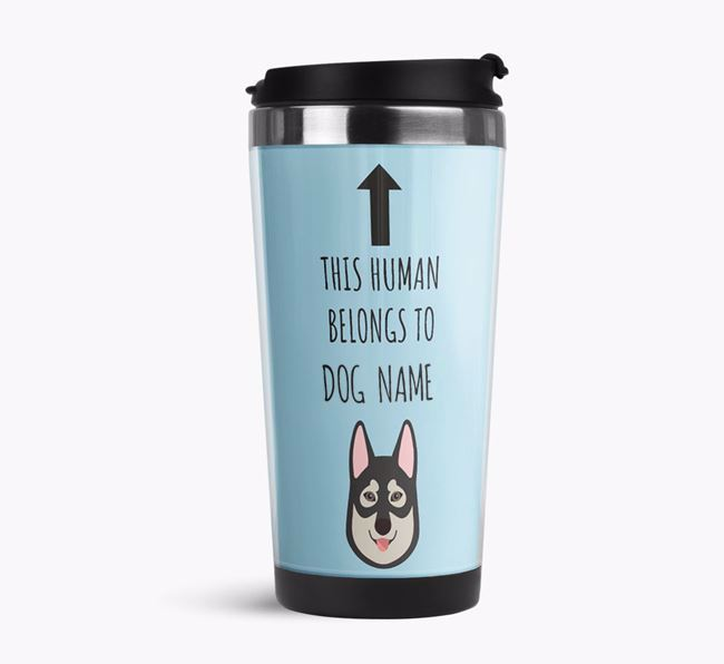 'This Human Belongs to' Travel Flask with Tamaskan Icon