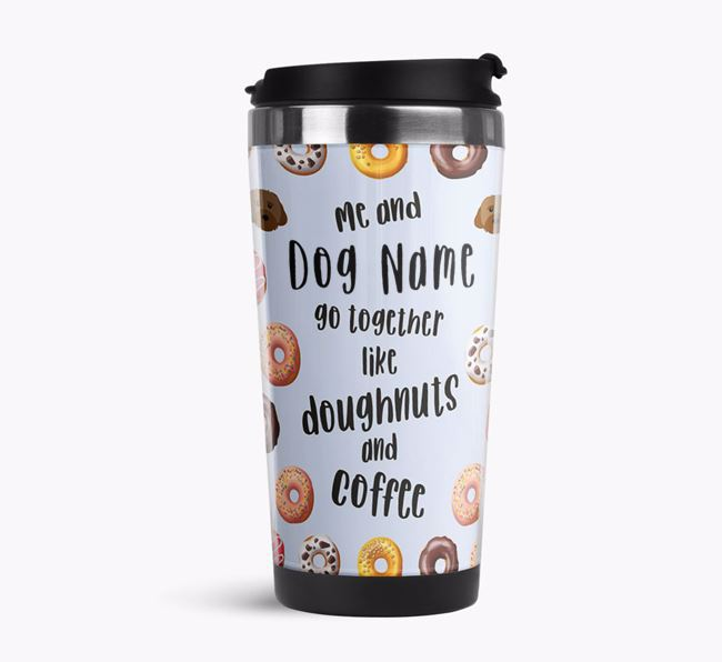 'Doughnuts and Coffee' Travel Flask with Cavachon Icon Pattern