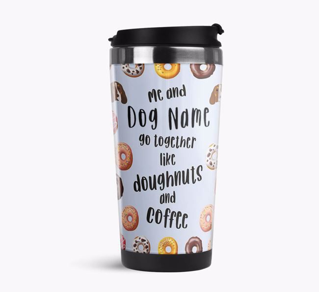 'Doughnuts and Coffee' Travel Flask with Cocker Spaniel Icon Pattern