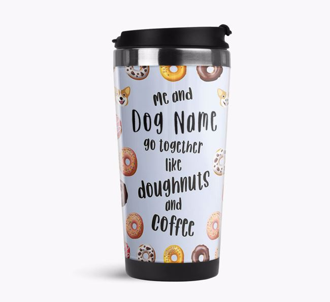 'Doughnuts and Coffee' Travel Flask with Corgi Icon Pattern
