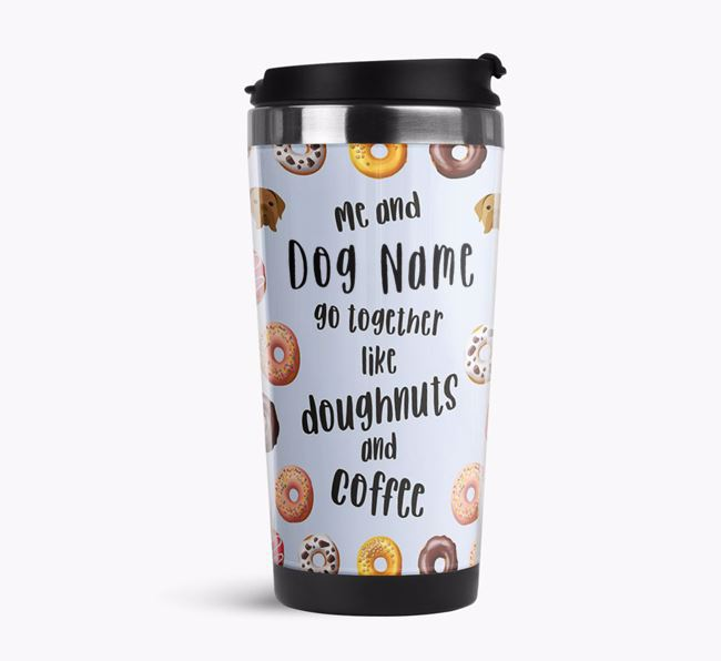 'Doughnuts and Coffee' Travel Flask with Dogue de Bordeaux Icon Pattern