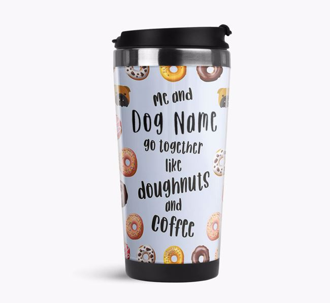 'Doughnuts and Coffee' Travel Flask with English Bulldog Icon Pattern