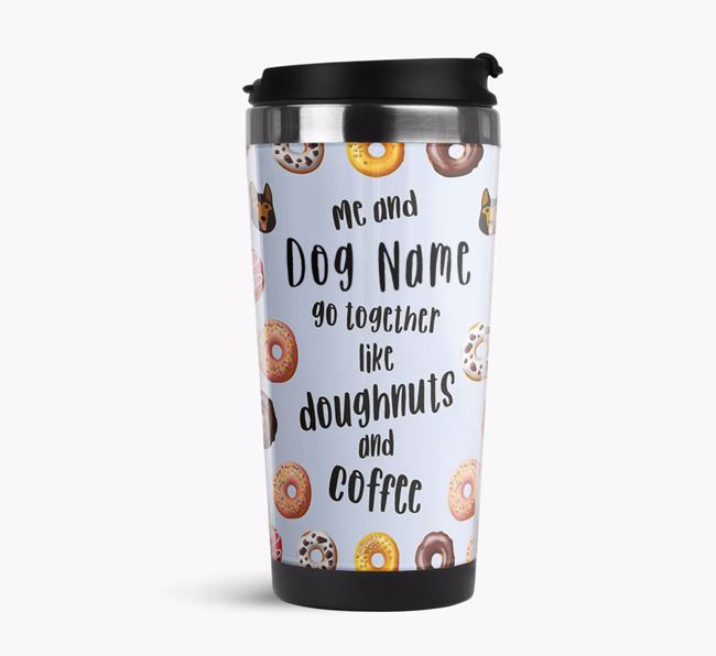 'Doughnuts and Coffee' Travel Flask with German Shepherd Icon Pattern