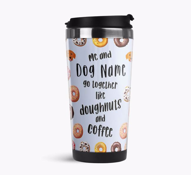 'Doughnuts and Coffee' Travel Flask with Golden Retriever Icon Pattern