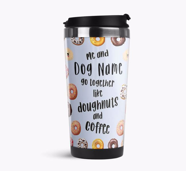 'Doughnuts and Coffee' Travel Flask with Komondor Icon Pattern
