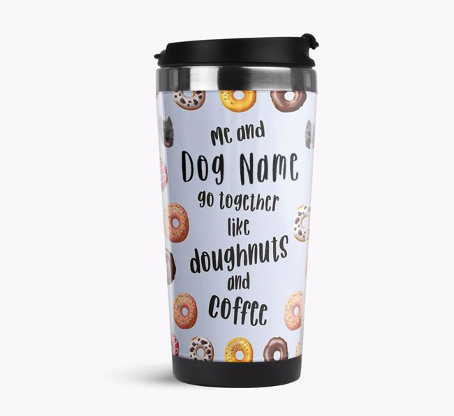 'Doughnuts and Coffee' Travel Flask with Picardy Sheepdog Icon Pattern