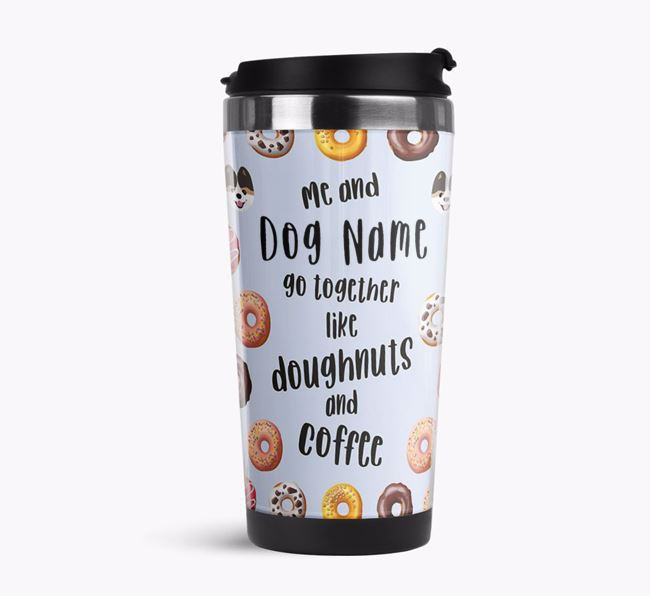 'Doughnuts and Coffee' Travel Flask with Pomeranian Icon Pattern