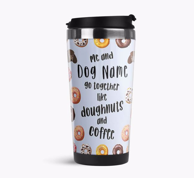 'Doughnuts and Coffee' Travel Flask with Poodle Icon Pattern