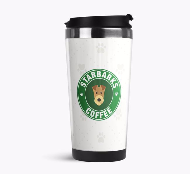 Personalised 'Starbarks' Travel Flask with Airedale Terrier Icon