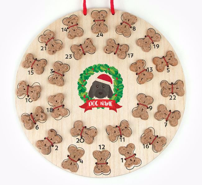 Personalised Advent Calendar with Cockapoo Icon wearing a Santa Hat