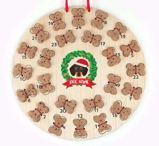 Personalised Advent Calendar with Dachshund Icon wearing a Santa Hat