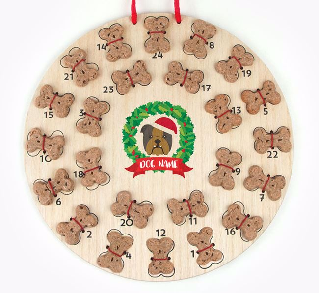 Personalised Advent Calendar with English Bulldog Icon wearing a Santa Hat