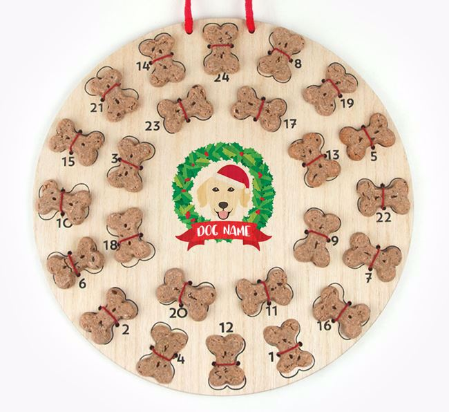 Personalised Advent Calendar with Golden Retriever Icon wearing a Santa Hat