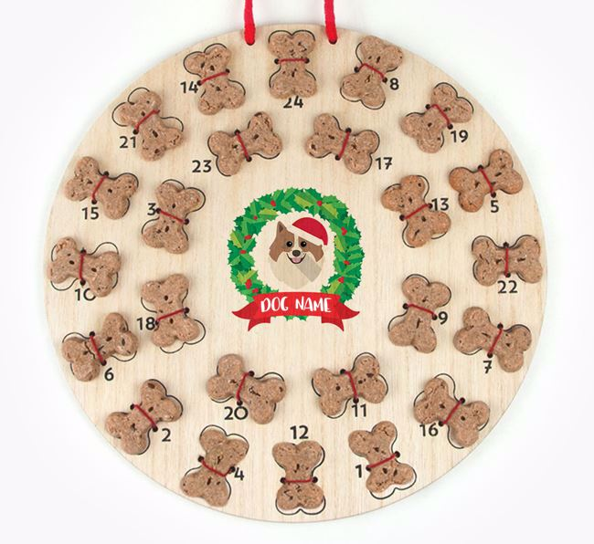 Personalised Advent Calendar with Pomeranian Icon wearing a Santa Hat
