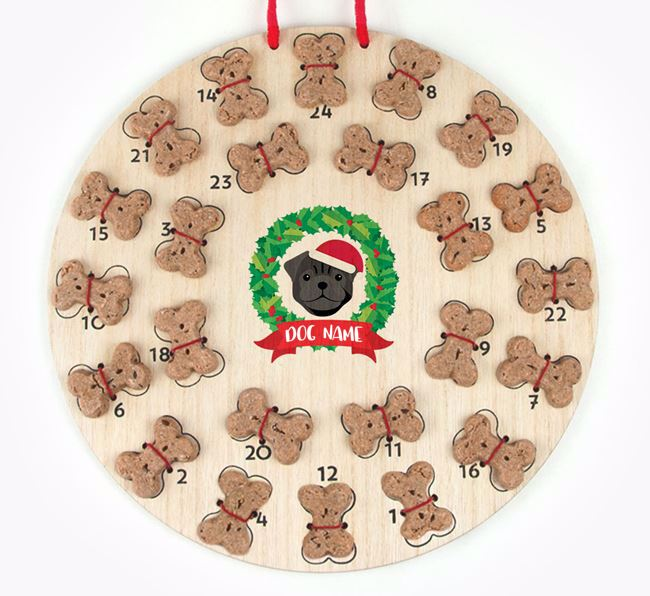 Personalised Advent Calendar with Pug Icon wearing a Santa Hat