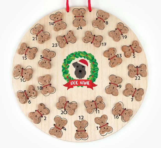 Personalised Advent Calendar with Schnauzer Icon wearing a Santa Hat