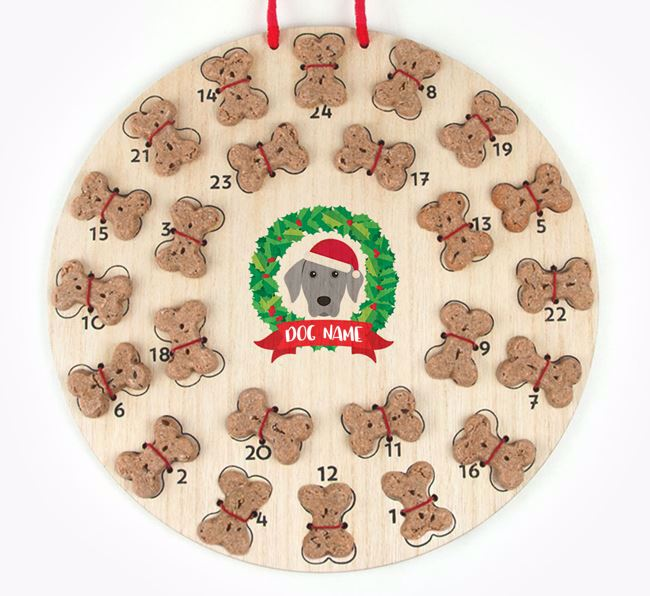 Personalised Advent Calendar with Dog Icon wearing a Santa Hat