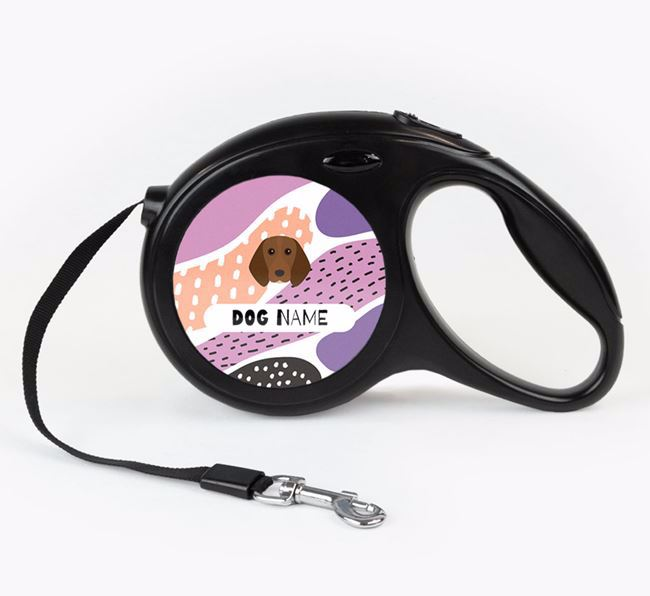 Personalised Retractable Lead with Abstract Pattern and Beagle Icon
