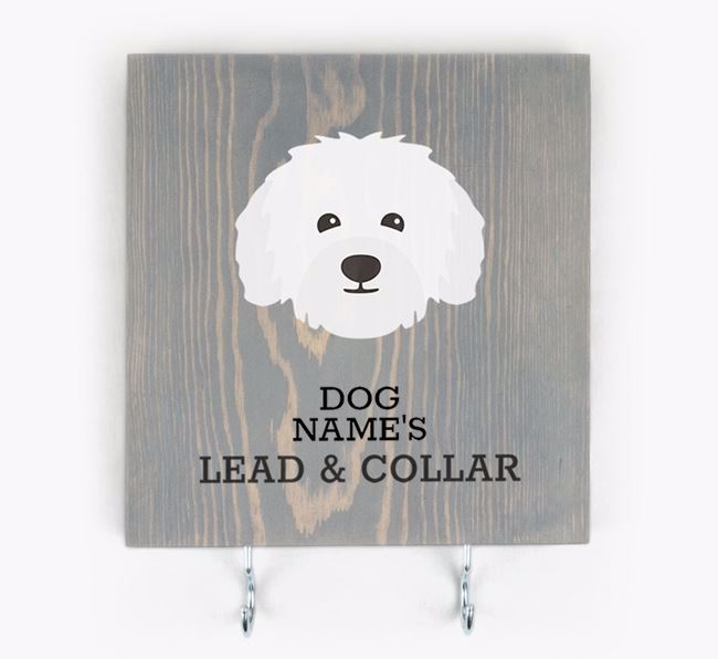 Personalised Wooden Sign 'Your Dog's Lead & Collar' with Bolognese Icon