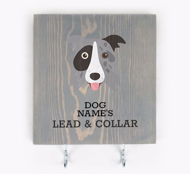 Personalised Wooden Sign 'Your Dog's Lead & Collar' with Border Collie Icon
