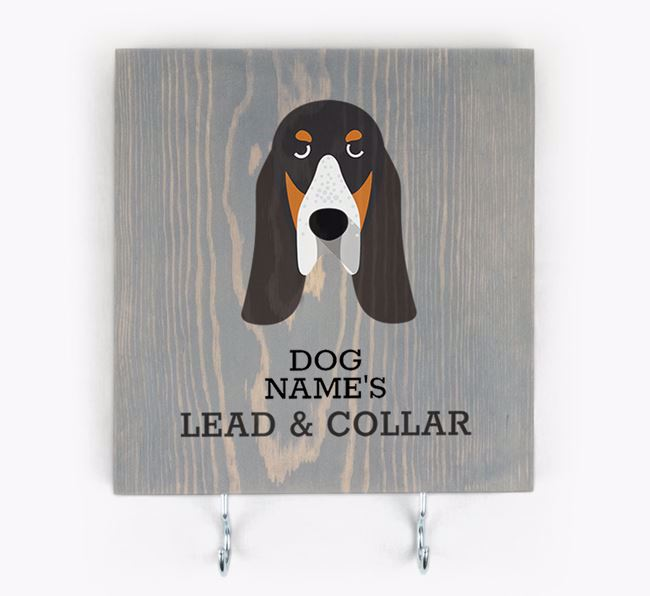 Personalised Wooden Sign 'Your Dog's Lead & Collar' with Grand Bleu De Gascogne Icon