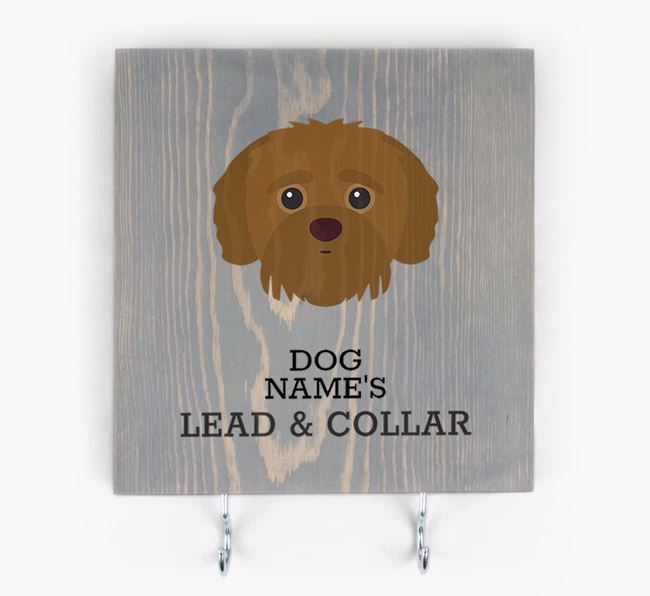 Personalised Wooden Sign 'Your Dog's Lead & Collar' with Jack-A-Poo Icon