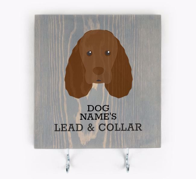 Personalised Wooden Sign 'Your Dog's Lead & Collar' with Sussex Spaniel Icon