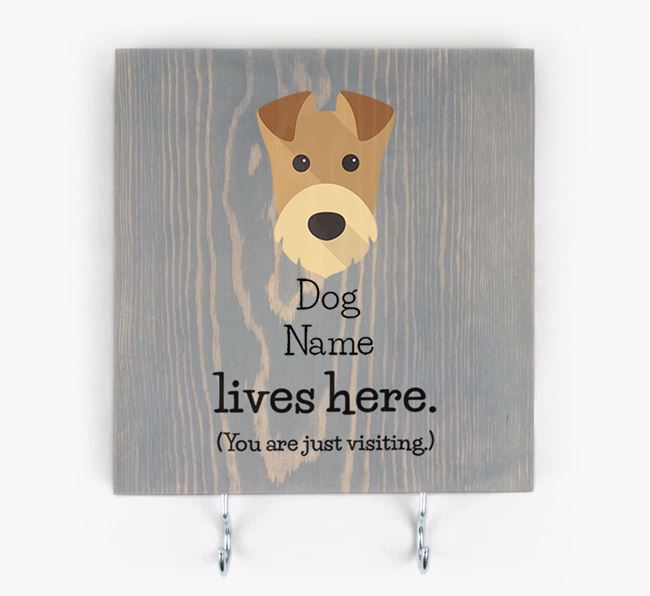 Personalised Wooden Sign 'Your Dog Lives Here' with Airedale Terrier Icon