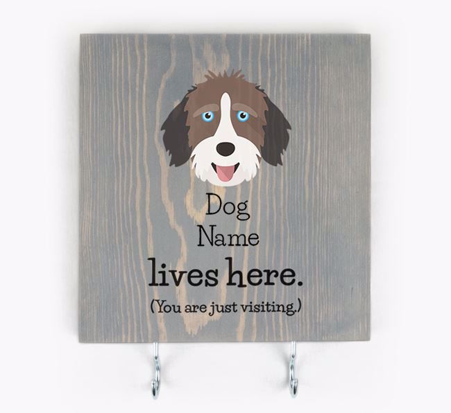 Personalised Wooden Sign 'Your Dog Lives Here' with Aussiedoodle Icon