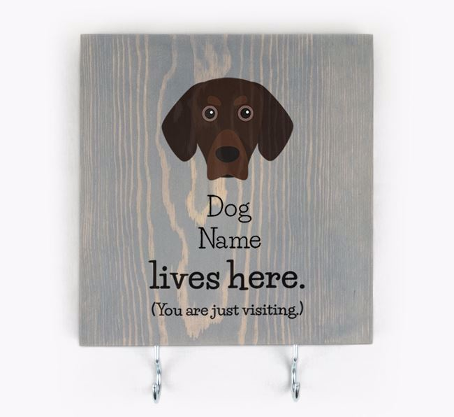 Personalised Wooden Sign 'Your Dog Lives Here' with Bavarian Mountain Hound Icon