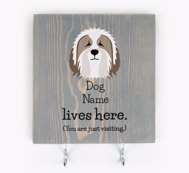 Personalised Wooden Sign 'Your Dog Lives Here' with Bearded Collie Icon