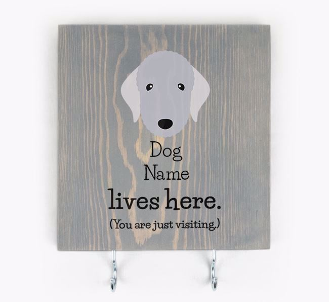Personalised Wooden Sign 'Your Dog Lives Here' with Bedlington Terrier Icon