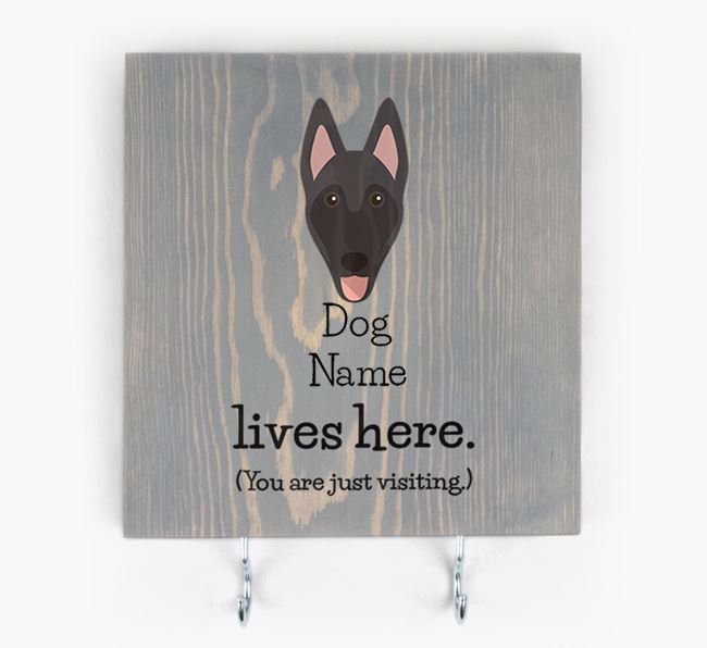 Personalised Wooden Sign 'Your Dog Lives Here' with Belgian Malinois Icon