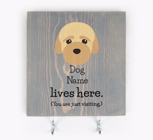 Personalised Wooden Sign 'Your Dog Lives Here' with Bich-poo Icon