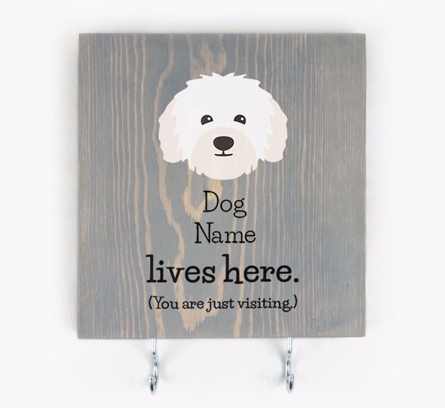 Personalised Wooden Sign 'Your Dog Lives Here' with Bolognese Icon