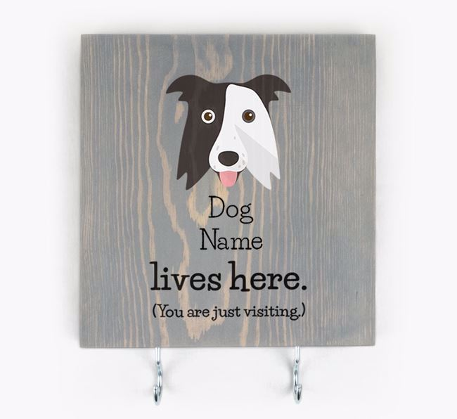 Personalised Wooden Sign 'Your Dog Lives Here' with Border Collie Icon