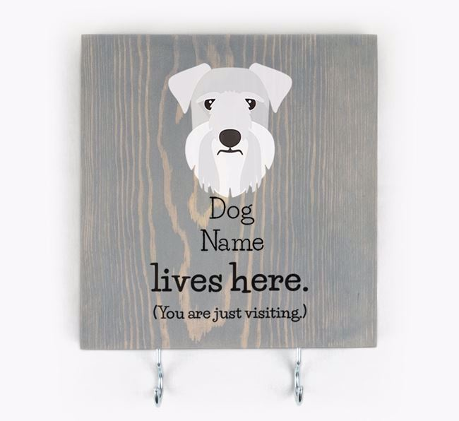 Personalised Wooden Sign 'Your Dog Lives Here' with Cesky Terrier Icon