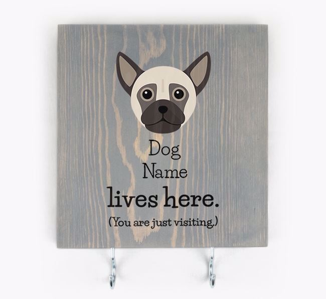 Personalised Wooden Sign 'Your Dog Lives Here' with Chug Icon