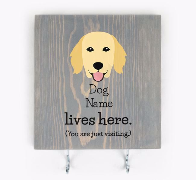 Personalised Wooden Sign 'Your Dog Lives Here' with Flat-Coated Retriever Icon