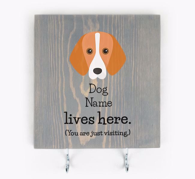 Personalised Wooden Sign 'Your Dog Lives Here' with Foxhound Icon