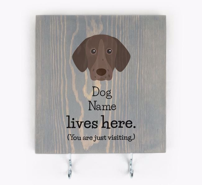 Personalised Wooden Sign 'Your Dog Lives Here' with German Shorthaired Pointer Icon