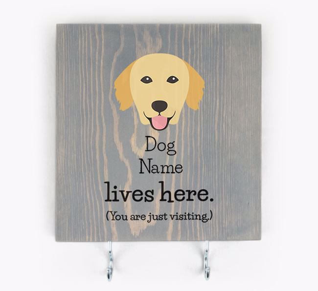 Personalised Wooden Sign 'Your Dog Lives Here' with Golden Retriever Icon