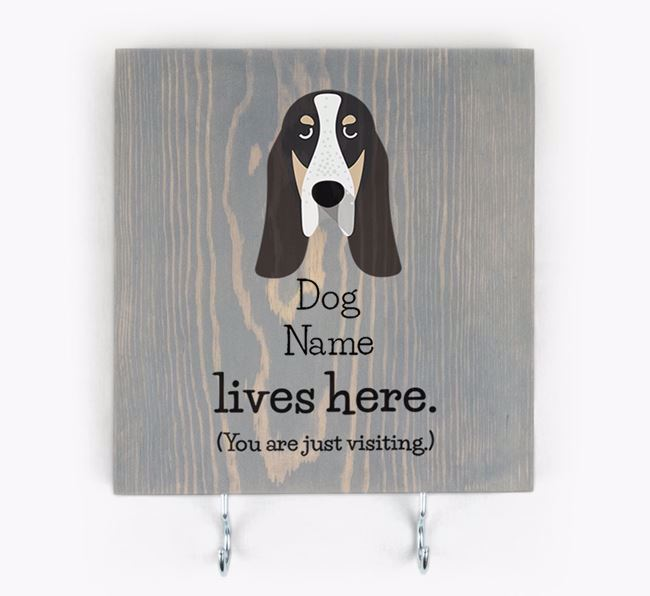 Personalised Wooden Sign 'Your Dog Lives Here' with Grand Bleu De Gascogne Icon
