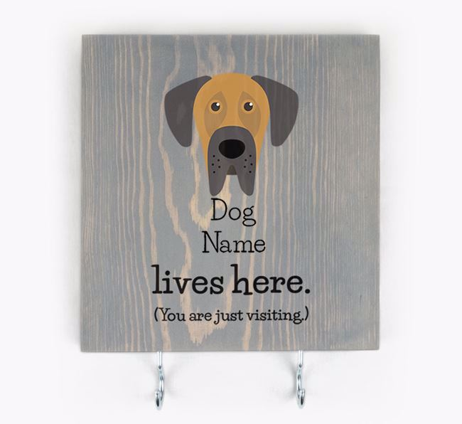 Personalised Wooden Sign 'Your Dog Lives Here' with Dog Icon