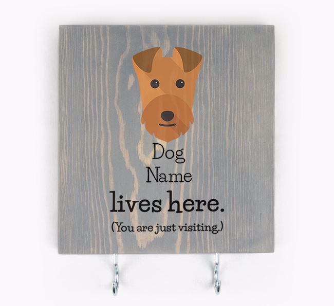 Personalised Wooden Sign 'Your Dog Lives Here' with Lakeland Terrier Icon
