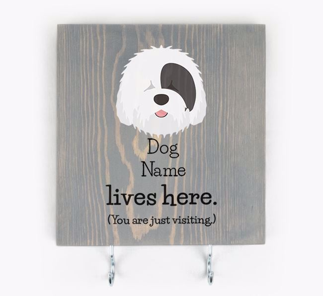 Personalised Wooden Sign 'Your Dog Lives Here' with Old English Sheepdog Icon