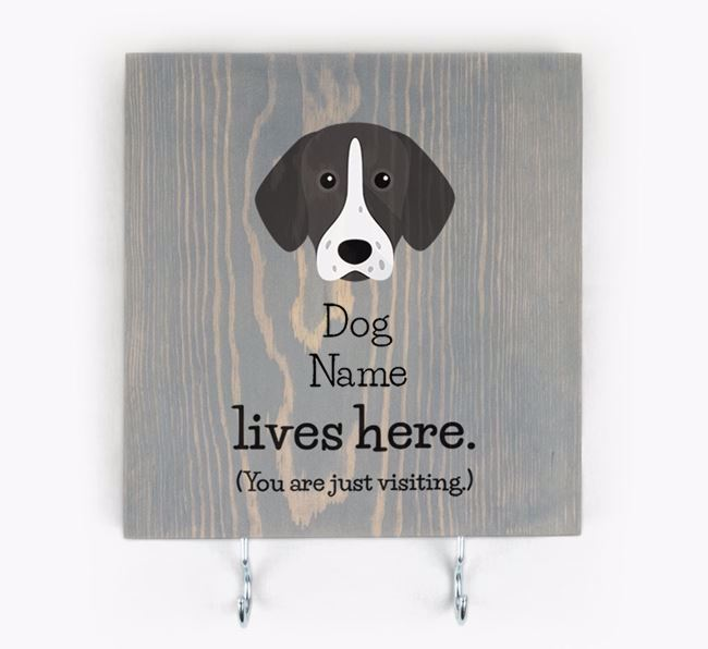 Personalised Wooden Sign 'Your Dog Lives Here' with Pointer Icon