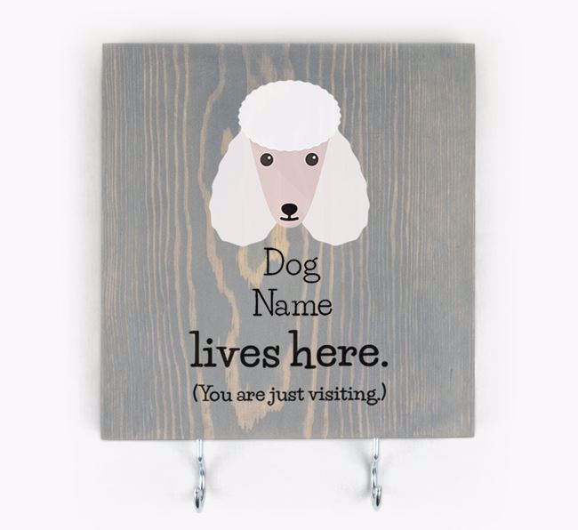 Personalised Wooden Sign 'Your Dog Lives Here' with Poodle Icon