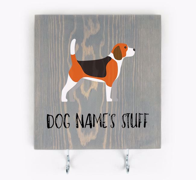Personalised Wooden Sign 'Your Dog's Stuff' with Beagle Icon